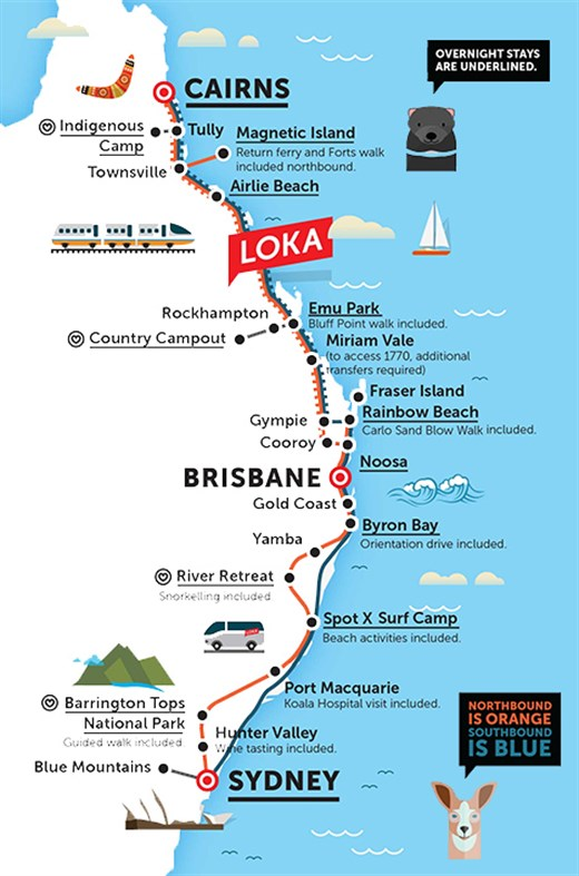 Loka Route Map Australia East Coast