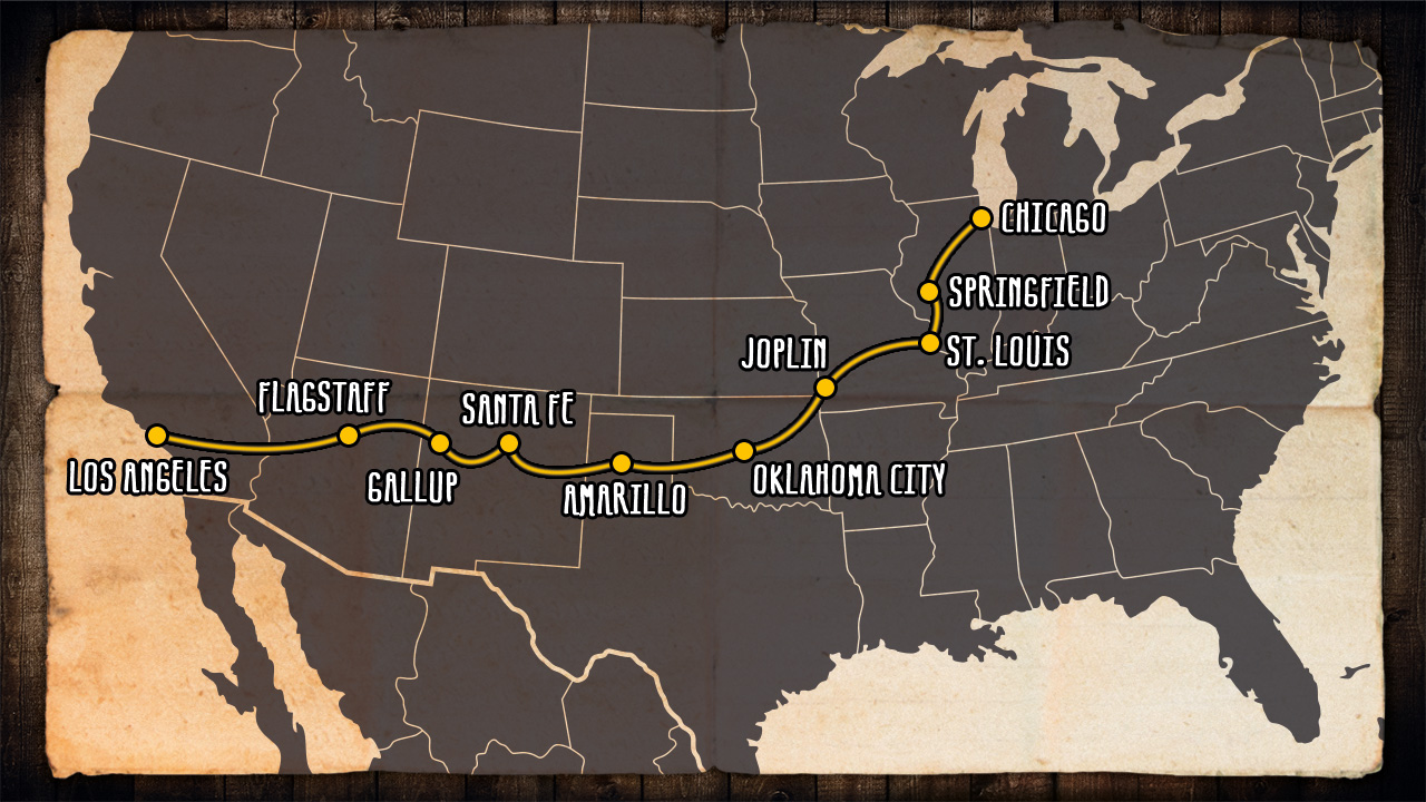 Recommendations For Road Trip On Route  KILROY - Map us highway route 66