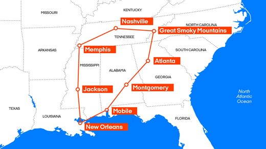 USA Southern States Take A Road Trip With KILROY - Map of southern states of usa