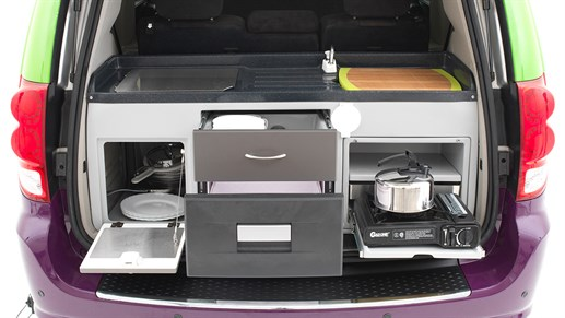 Jucy Trailblazer - A small kitchenette is revealed behind the rear door