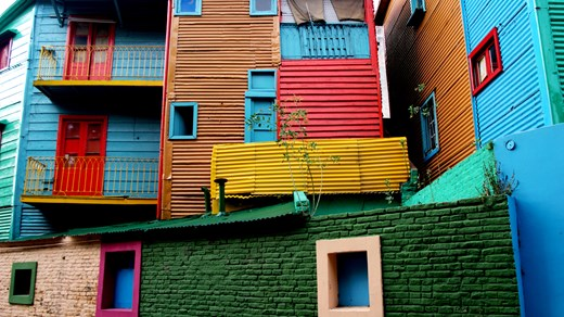 Colourful houses in Buenos Aires, Argentina.