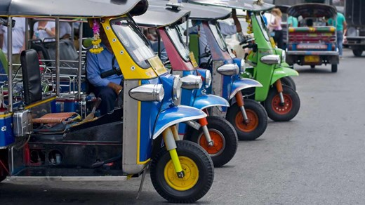 Tuk-Tuks lined up - an essential way of transport in Bangkok.