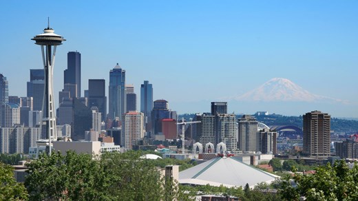 Seattle is a beautiful city surrounded by mountains and open sea.