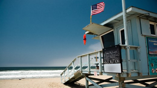 Iconic lifeguard towers line the Southern California beaches.