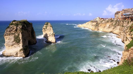 The famous Raouche rocks in Lebanon