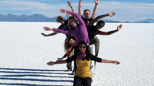 The salt flats in Bolivia is a must see.