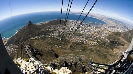View from the cable cart in Cape Town.
