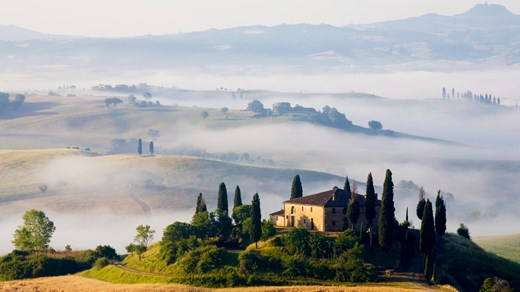 Tuscany hill farms in Italy.