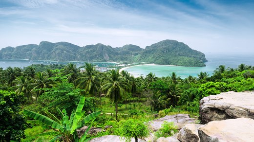 Scenic View over Phi Phi - one of the popular beach destinations of Thailand