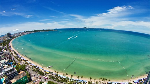 Pattaya - Beach front - aerial view