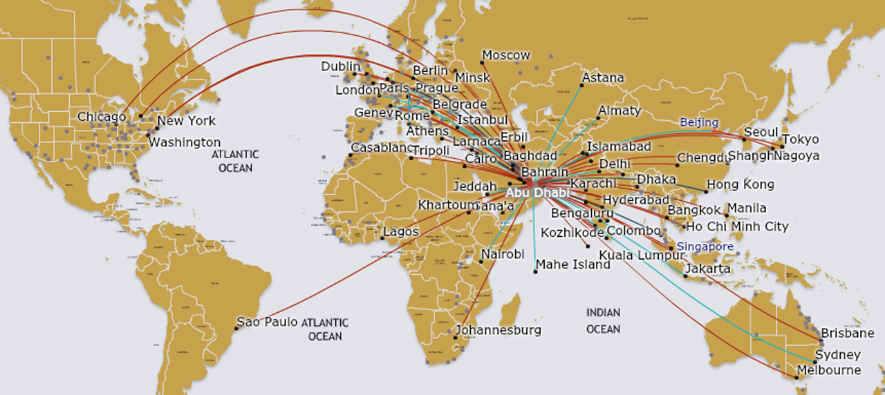 Etihad Airways KILROY - Map of major air routes in the us