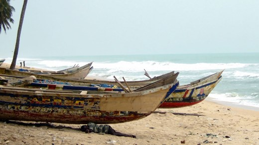 Fishing boats by the beach in Ghana