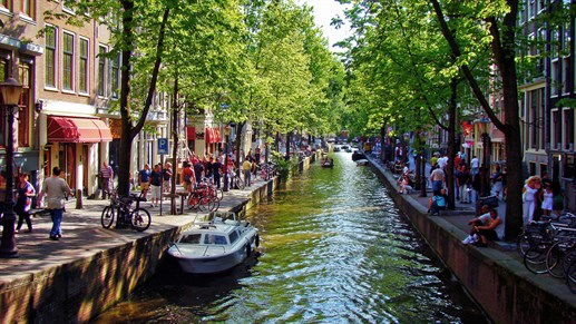 Amsterdam Netherlands Canal In Summer