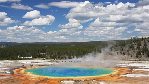 Wyoming Yellowstone Grand Prismatic Hot Spring Western Ranch Trek America