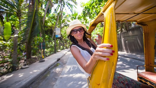 Philippines Boracay Girl Driving Rickshaw